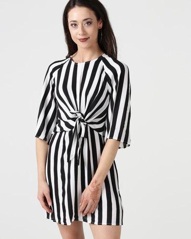 8f46020c2f38b AX Paris Striped Tie Waist Dress Black/White   Zando