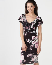 City Goddess London Floral Print Midi Dress with Frilled V Neckline Black