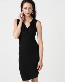 City Goddess London Bardot Pleated Midi Dress Black