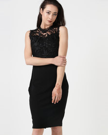 City Goddess London Floral Lace Bodice Midi Dress Black
