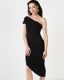 City Goddess London One Shoulder Bodycon Asymmetric Dress Black