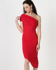 City Goddess London One Shoulder Bodycon Asymmetric Dress Red