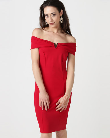 City Goddess London Bardot Midi Dress with Metal Detail Red