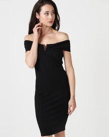 City Goddess London Bardot Midi Dress with Metal Detail Black