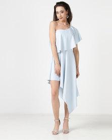 City Goddess London One Shoulder Midi Dress with Asymmetric Hem Powder Blue