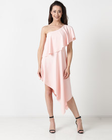 City Goddess London One Shoulder Midi Dress With Asymmetric Hem Rose