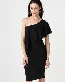 City Goddess London One Shoulder Frilled Midi Dress Black