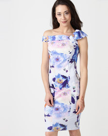City Goddess London Bardot Floral Print Midi Dress with Bow Detail Blue