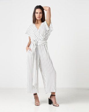 City Goddess London Striped Wide Leg Jumpsuit With Belt Ivory