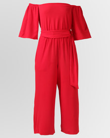 City Goddess London Bardot Culotte Jumpsuit With Belt Red