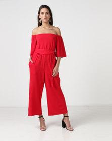 City Goddess London Bardot Culotte Jumpsuit With Belt Red