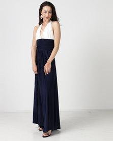 City Goddess London Plunge Neckline Maxi Dress With Open Back White/Navy