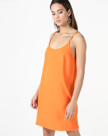 City Goddess London Mini Cami Shift Dress Orange