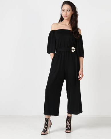 City Goddess London Bardot Culotte Jumpsuit With Belt Black
