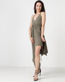 City Goddess London Deep Neckline High Low Maxi Dress With Open Khaki