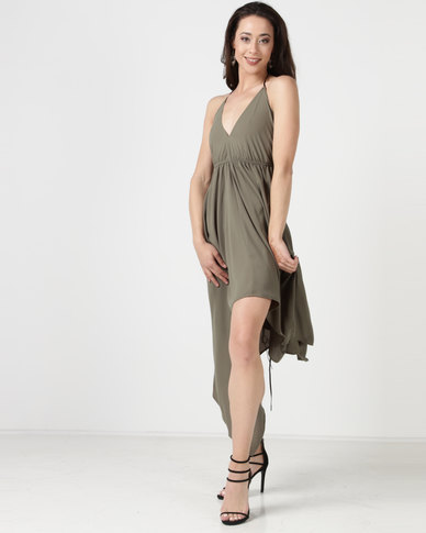 City Goddess London Deep Neckline High Low Maxi Dress With Open Khaki  4e7032708bb3