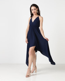 City Goddess London Deep Neckline High Low Maxi Dress With Open Back Navy