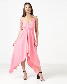 City Goddess London Deep Neckline High Low Maxi Dress With Open Back Rose