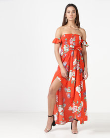 City Goddess London Floral Print Bandeau Maxi With Frilled Sleeves Orange