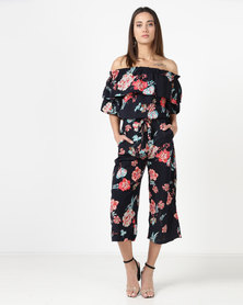 City Goddess London Floral Co-ord Top And Trouser Set Navy