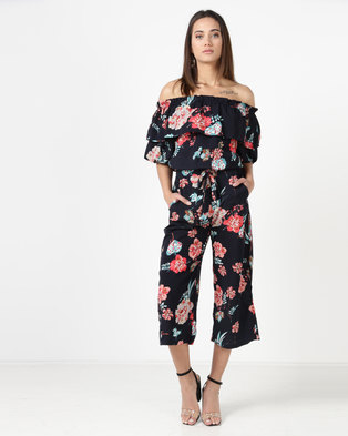 6fa8567336 City Goddess London Floral Co-ord Top And Trouser Set Navy