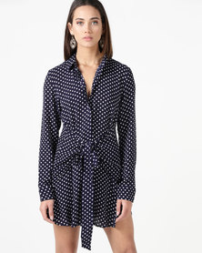City Goddess London Polka Dot Button Up Shirt With Front Wrap Tie Navy/White