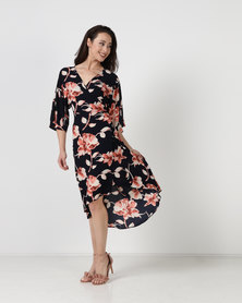 City Goddess London Floral Print Midi Wrap Dress Multi