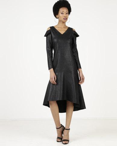 68b9e3b88a Closet London V-Neck Cold Shoulder High-Low Peplum Dress Black   Zando
