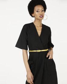 Closet London Belted Wrap Dress Black