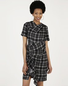 Closet London Asymmetric Pleated Dress Black/White