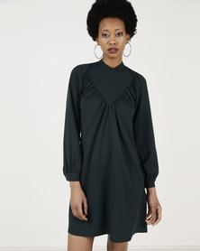 Closet London Long Sleeve A-Line Dress Dark Green