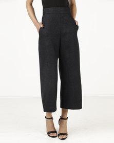 Closet London Crop Leg High-Waist Trousers Black
