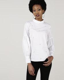 Closet London High Neck Puff Sleeve Blouse White