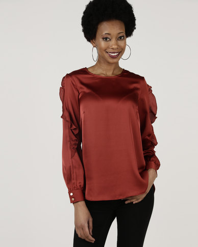 Closet London Frill Sleeve Blouse Dark Orange