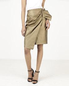 Closet London Bow Detail Asymetric Skirt Metallic