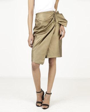 f122b1b087 Closet London Bow Detail Asymetric Skirt Metallic