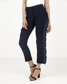 Closet London Slim Trousers With Frill Navy
