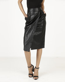 Closet London Wrap Pencil Skirt Black
