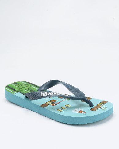 7edf746f2 Havaianas Mario Bros Flip Flops Blue Spash