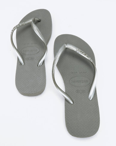 e55c63aa29c7 Havaianas Slim Flip Flops Steel Grey