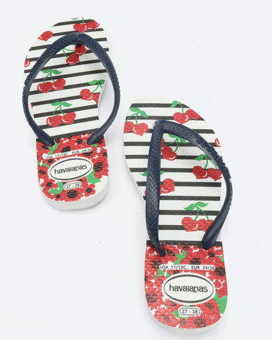 27f9aaeb9 Havaianas Kids Slim Fashion Flip Flops White   Navy Blue