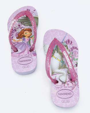 0b7943354 Havaianas Kids Slim Princess Sofia Flip Flops Purple   Lavender