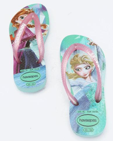817706f485b2 Havaianas Kids Slim Frozen Flip Flops Ice Blue