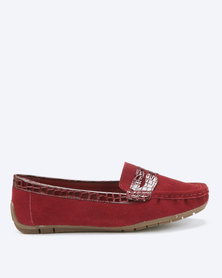 Dolce Vita Tunis Slip On Genuine Leather Shoes Burgundy