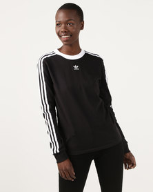 adidas Originals 3 Stripes Long Sleeve Top Black