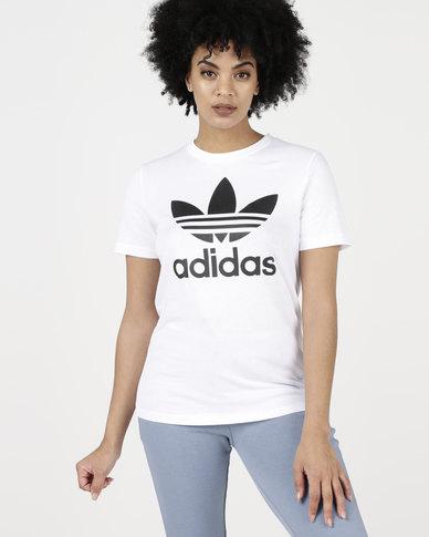 adidas Originals Ladies Adicolour Classic Tee White Black  420425615