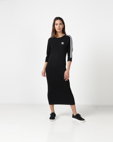 d3b5a1005ade adidas Originals Ladies LS Stripe Dress Black White