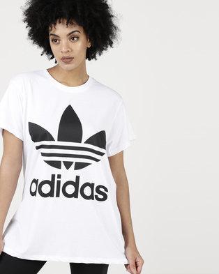 adidas Originals Ladies Boxy Trefoil Tee White/Black