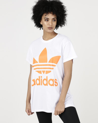 adidas Originals Ladies Boxy Trefoil Tee White/Real Gold