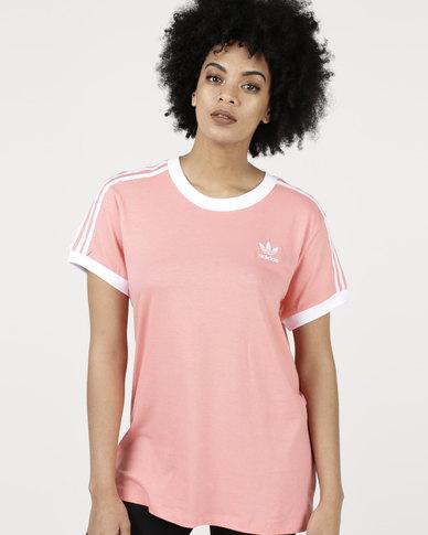 a4bc7a1b26 adidas Originals Ladies 3 Stripe Tee Tactile Rose/White | Zando